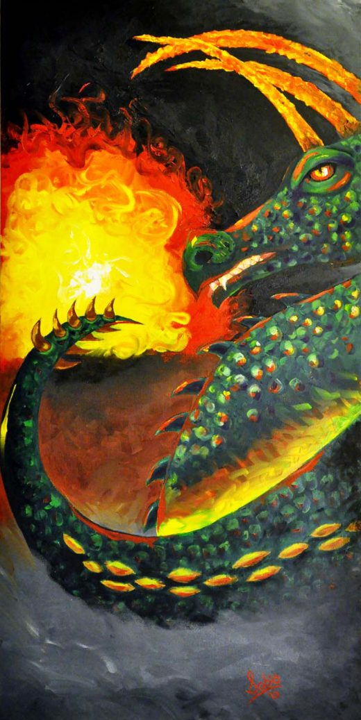 "Sobia Shuaib Dragon Fire 18"" x 36"""