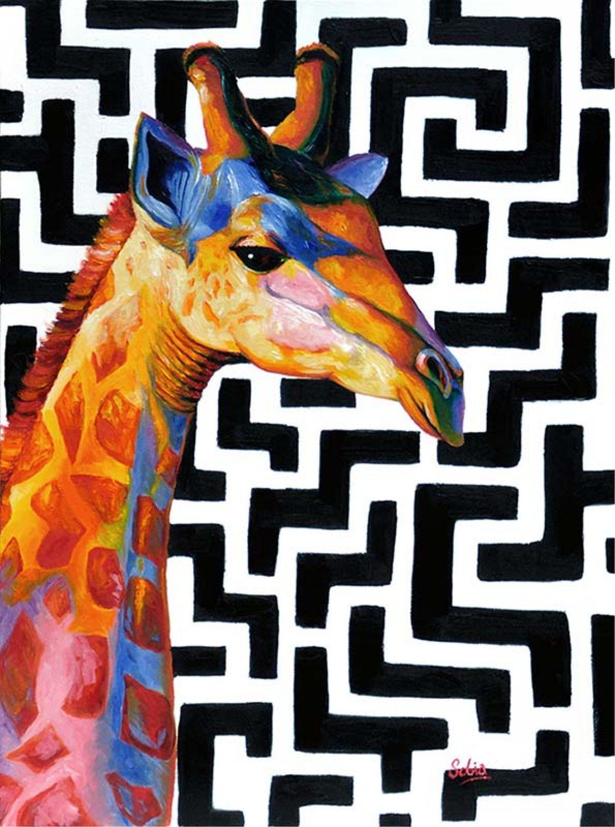 "Sobia Shuaib Contemporary Giraffe 18"" x 24"""